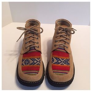 Caterpillar Shoes - Yoaan CATS Tan Suede Aztec Embroidered Work Boots