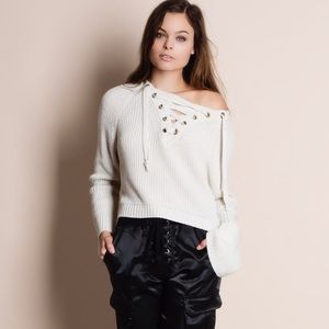 Bare Anthology Sweaters - Lace Up Sweater Top