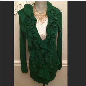Anthropologie Long Green Ruffled Cardigan Sweater