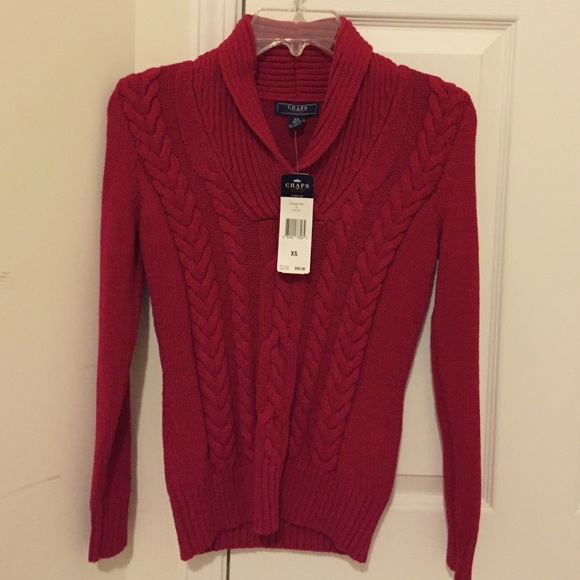 71% off Chaps Sweaters - Brand New Chaps Denim thick Red Sweater ...
