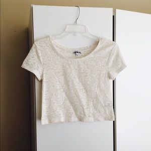 Express white crop lace top XS
