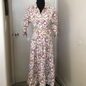 Vintage 80s floral dress with matching belt