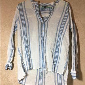 JCrew button up striped blue blouse