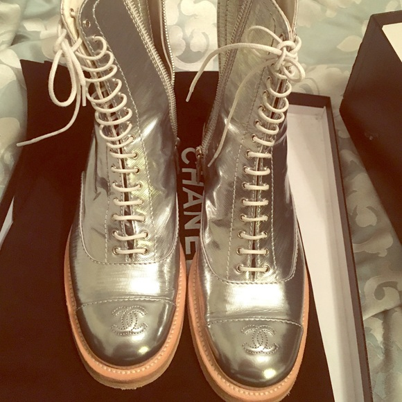 Chanel Silver Combat Boots