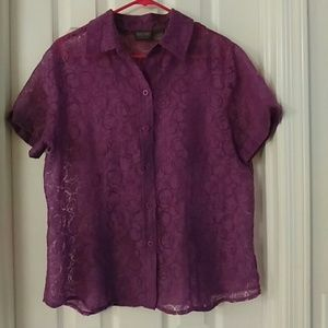 ⚡⚡Chicos plus size purple sheer button up w collar