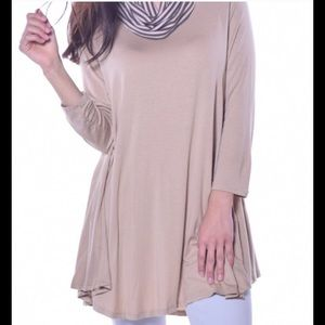 Pastels Clothing Tops - Taupe Cowl Neck women's tunic Top NEW made in US⬇️