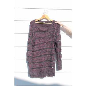 City Chic Sweaters - 90's grunge slouchy furry sweater - purple / black