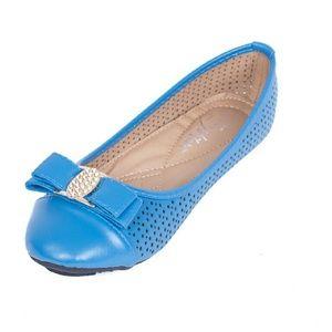 Women Ballet Buckle Flats, b-1614, Cobalt Blue