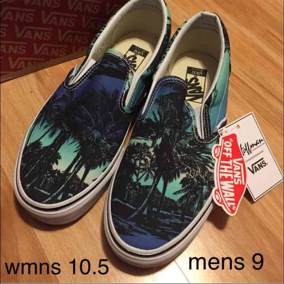 37297b2a496 Vans off the wall palm tree slip ons NWT