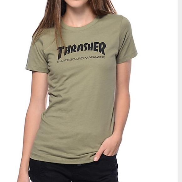 THRASHER ARMY GREEN WOMEN T-SHIRT. M 585f35b599086afb0001efa4 81db9cd9b0