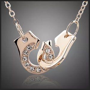 Jewelry - DF100 Swarovski Crystal Gold Handcuff Necklace