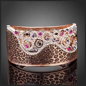 DF100 Swarovski Crystal Animal Print Cuff Bracelet