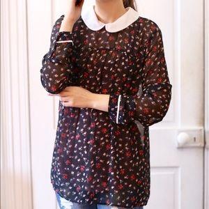 Zara Peter Pan Collar Floral Sheer Blouse