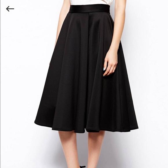 671603465 ASOS Skirts | Closet Black Scuba Midi Skirt 2 Uk 6 | Poshmark