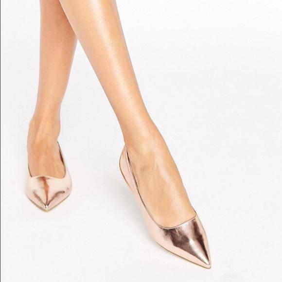 Asos Shoes Raid Agatha Rose Gold Flats Poshmark