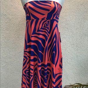 LulaRoe Maxi Skirt Orange Blue Zebra print XLarge