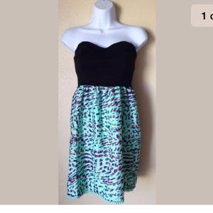 Hurley Strapless Dress Black Spearmint Sz S