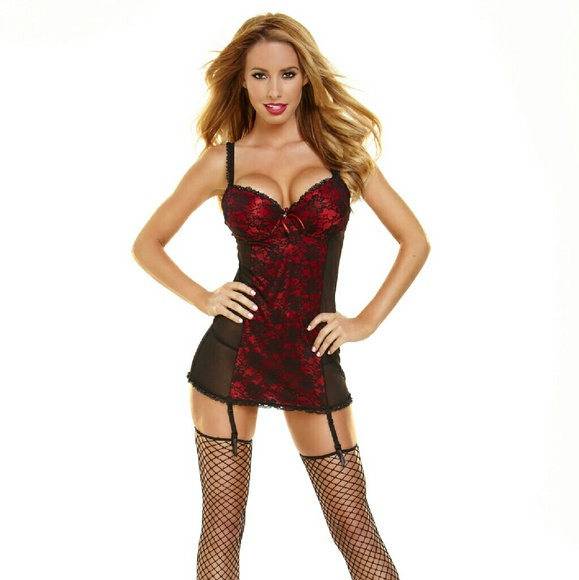 Hustler Hollywood Other - Hustler Lingeries Lace Chemise Panty Set.