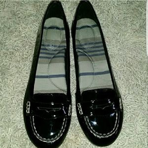 Black patent leather Sperrys