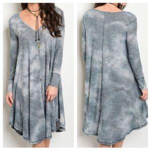Dresses & Skirts - New- Gray Indigo Tie Dye Dress
