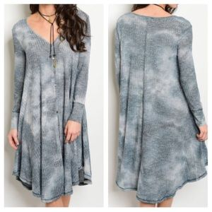 Dresses & Skirts - New- Gray Indigo Tie Dye Dress