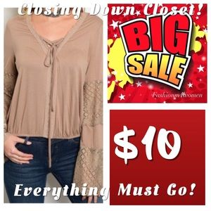 Tops - New - Mocha Top with Lace Sleeves