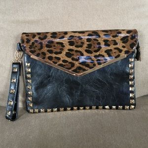 Black Leopard and Stud Clutch / Wristlet NWOT