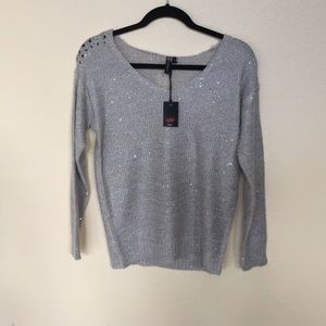 POOF! Sparkle sweater grey knit vneck sweater s