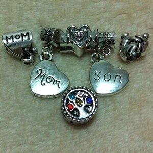 Jewelry - Jeweled mom heart, mom son heart charm