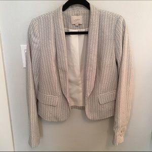 LOFT Grey and White Patterned Blazer