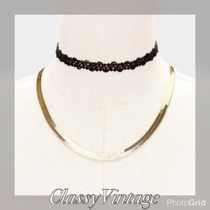 Festival Jewelry - 2 PC gold metal necklace and tattoo choker set