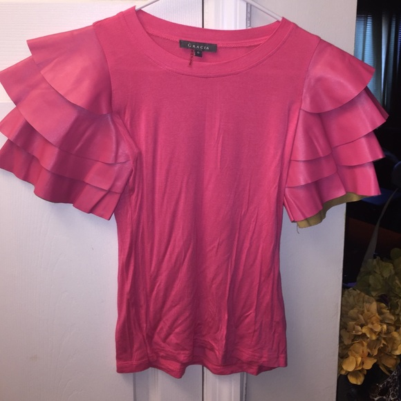 5000ab2256e Pink Gracia top with faux leather ruffle sleeves