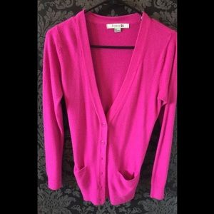 Forever 21 Sweaters Hot Pink Thick Button Up Cardigan Sweater W