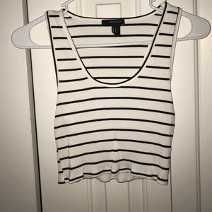 Black&White Striped Crop Top