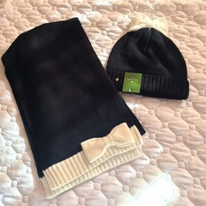 kate spade Accessories - Kate Spade bow beanie and scarf set