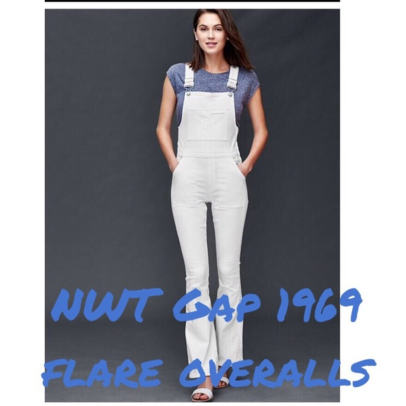 uk store detailed look preview of NWT Gap 1969 flare overall jeans in white NWT