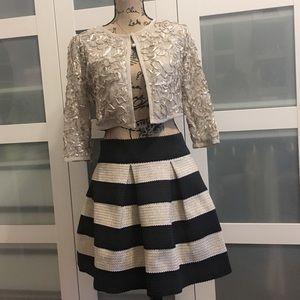 Black and gold skater full NYE skirt