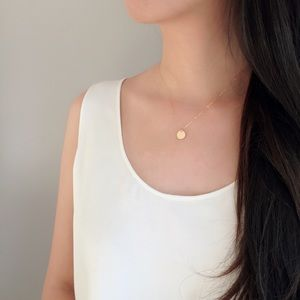 Jewelry - Gold filled circle coin disc dainty necklace