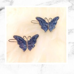 Accessories - Vintage 90s Blue Sparkly Butterfly Clips!