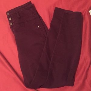 Denim - Burgundy high waisted skinny jeans