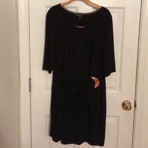 Thalia Sodi black bodycon faux-wrap dress. Size XL
