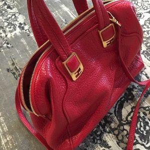 Red Pebble Leather Fendi Bag