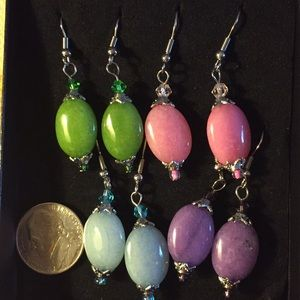 gorgeous colorful jade earrings. New.