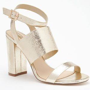 Forever 21 Shoes - Forever 21 gold metallic  open toe heels