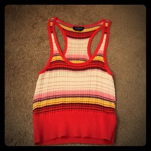 Red, white, pink & yellow Bebe crop top size small