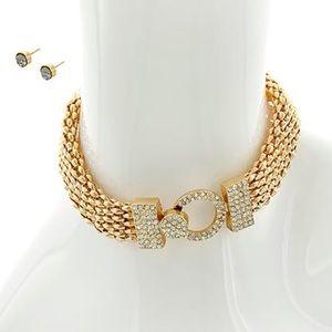 Jewelry - • Gold crystal choker / earrings set •