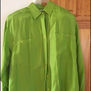 Kelly Green Silk Button-Down Blouse Large