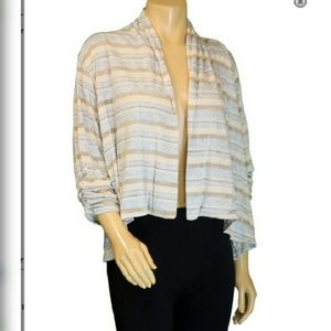 Beige Striped Open Shrug