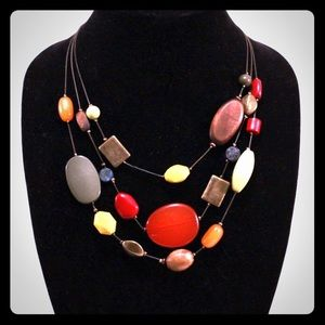 Jewelry - Triple Strand Necklace with Fall Colored Beads