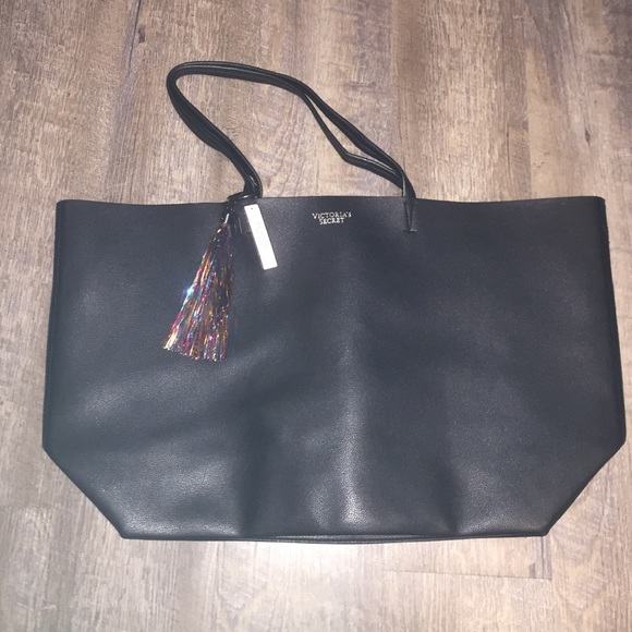 447c71ac1201 Victoria s Secret black oversized leather tote!